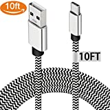 USB Type C Charging Cable for Google Pixel 2 XL, 10ft Nylon Braided Charger Cord for Samsung Galaxy S9 S8 Note 8 S8+,Nexus 6P 5X, LG G6 V30, Nintendo Switch, OnePlus 5, Macbook, Car Charger Adapter