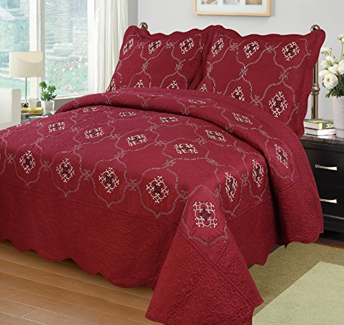 red quilted coverlet - 8