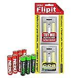 Nebo Flipit 6523 215 lumen COB LED Magnetic room/closet/shed light 2 PACK with 3 X EdisonBright AAA Alkaline batteries bundle
