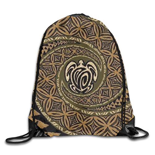 (Hawaiian Tapa Honu Turtle Deluxe Drawstring Backpack Waterproof Drawstring Backbag Outdoor Travel Sports Gym Storage Bag For Men And Women )