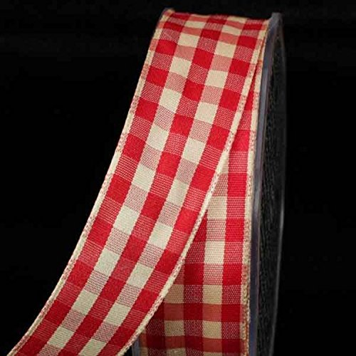 Red and Ivory Gingham Wired Woven Edge Ribbon 1.5