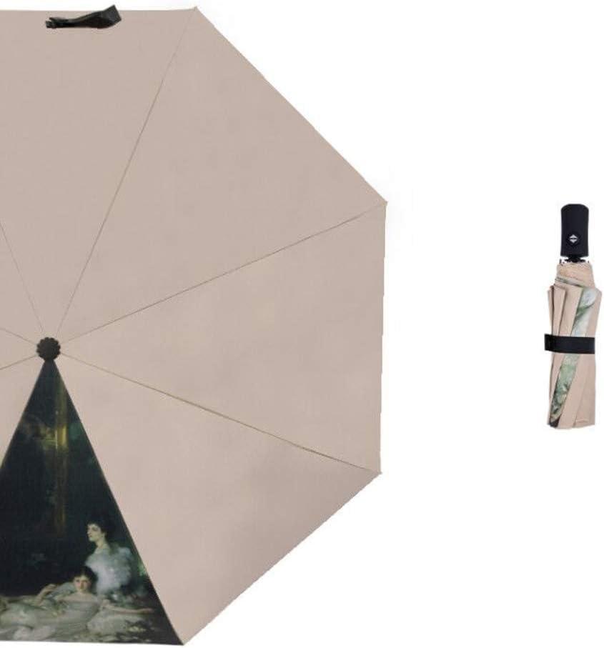 Color : Beige Qeeuanl 8-Bone Sunny Umbrella Dual-use Female to Increase Retro Literary Vinyl Tri-fold Sun Umbrella Sun Protection Shade UV Protection