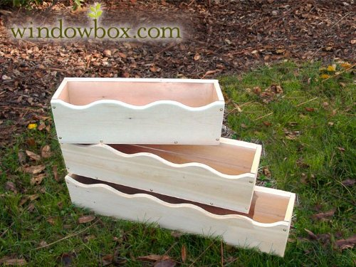 Cedar Wood Scalloped Window Box - 36 Inch