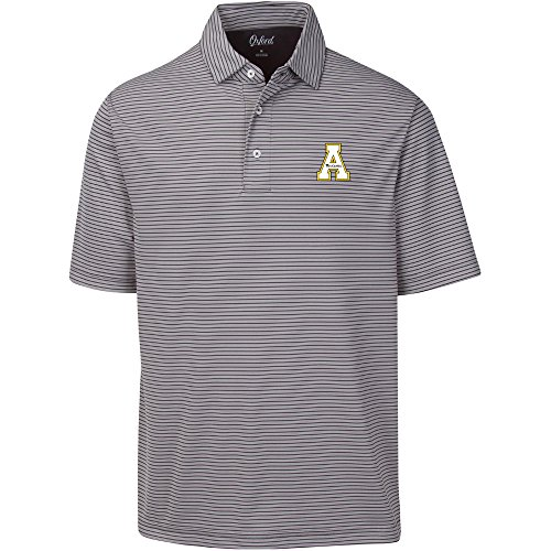 NCAA Appalachian State Mountaineers Adult Men Calhoun 2-Tone Stripe Ottoman Polo, X-Large, Iron Gate Appalachian State Mountaineers Golf