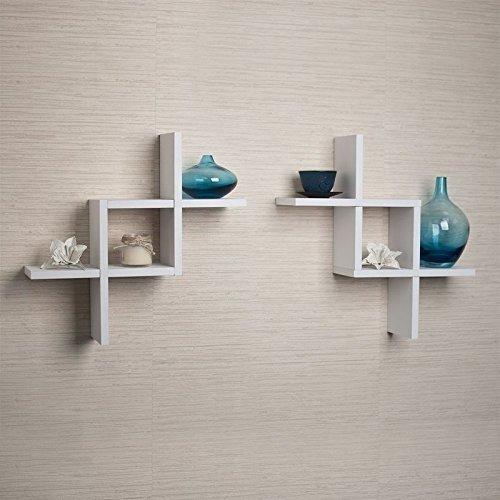 Lykos White Reversed Criss Cross Wall Shelf Set Of 2 Floating Home Decor Storage New by Lykos