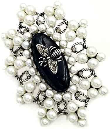 302313aab DREAMLANDSALES Vintage Imitated Pearls Cluster Bee Deco Black Enamel Oval  Shaped Art Deco Brooches Pins