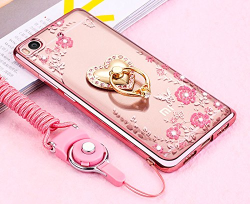 Price comparison product image Xiaomi Redmi 4X Case,ikasus Pink Butterfly Flower Bling Crystal Rhinestone Diamonds Clear Rubber Rose Plating Frame & Pink Straps Love Diamonds Kickstand Soft TPU Bumper Case Cover for Xiaomi Redmi 4X