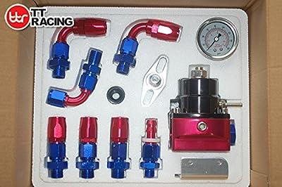 Universal EFI Fuel Pressure Regulator Kit Oil Gauge Braided Fuel Hose 6AN AN-6 from TT Racing