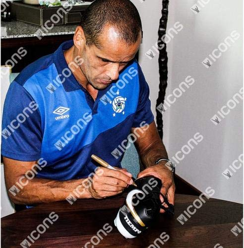 Rivaldo Autographed Black and Gold Nike Tiempo Soccer Cleat ICONS Fanatics Authentic Certified Autographed Soccer Cleats