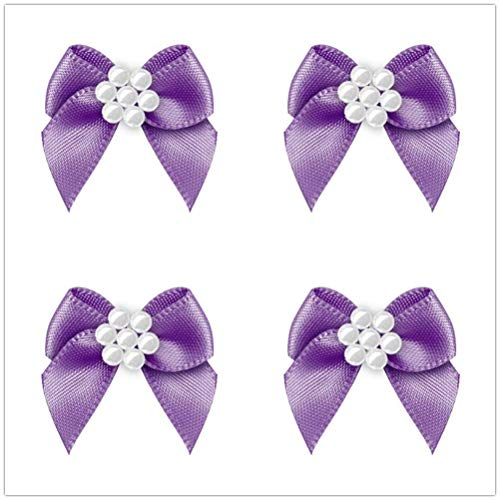 - 50pcs Mini Satin Ribbon Bows Ribbon Flowers with 7 Beads 26mm x 25mm Appliques DIY Craft for Sewing, Scrapbooking, Wedding, Gift. (Purple)