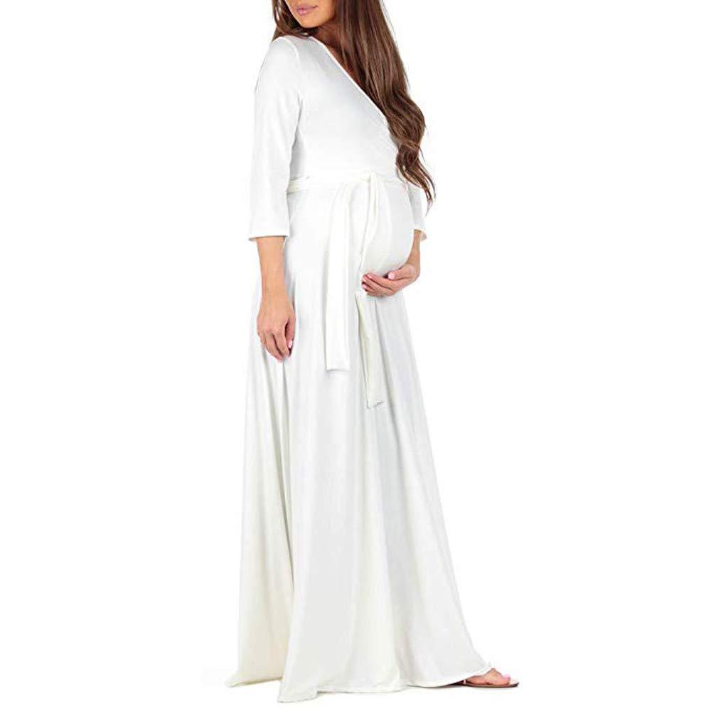 Cinnamou Womens Maternity Dress,Women Maternity Deep V-Neck Long Sleeve Bandage Pure Color Nursing Breastfeeding Dress Pregnancy Photography Maxi Dress Party Dress S-XL