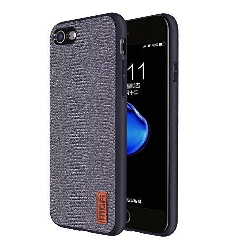 Phone7/8 Cases Covers with Full TPU Soft Edges & Art Cloth and Full-edge Protection Shock- absorbing and with Great Grip Fully Compatibale for iPhone7/8 (gray) Great Iphone Covers
