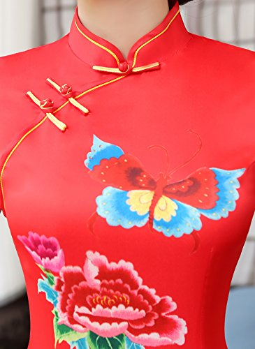 Rouge Femme Robe Long Fleur Dress Soirée Acvip Asiatique De Qipao Cheongsam Party Maxi 7ZwdZxaqH