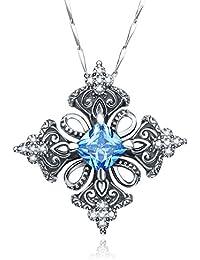 "Antique Created Blue Topaz Irish Celtic Cross Pendant Necklace for Women,18"""