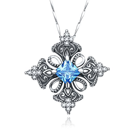 Merthus Antique Created Blue Topaz Irish Celtic Cross Pendant Necklace for Women,18