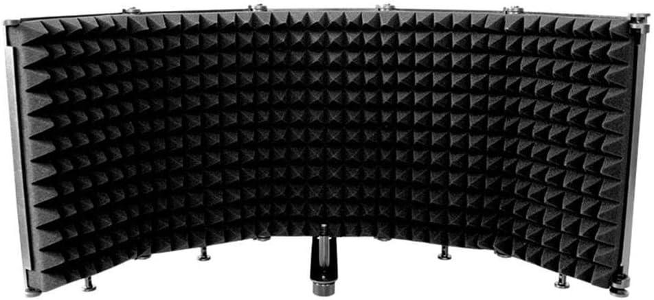 CeFoney Protector de aislamiento de micrófono, pantalla de viento, portátil, plegable, de plástico de cinco puertas, pantalla insonorizada para soporte o mesa, plegable, ajustable, duradero