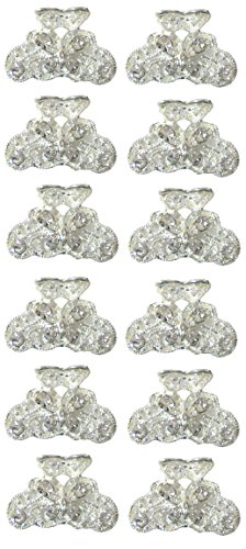- Bella 12 Piece Set Mini Silver White Bridal Claw Clips Jaw Clips Hair Clips LPW864175-1-D