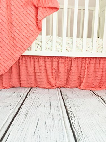 Light Coral Crib Skirt, Dust Ruffle for Baby Girl Nursery Bedding, Shabby (Cottage Style Decor)