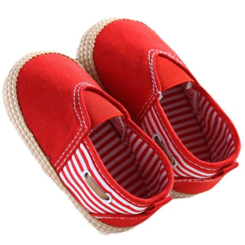 Binmer(TM) New Cute Solid Infant Anti-slip New Born Baby Shoes Boys Casual Shoes (6~12 Month, Blue) (0~6 Month, Red)