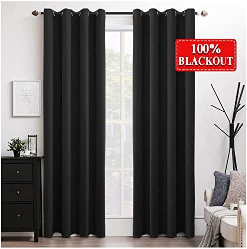 MIULEE 100 Blackout Curtains Thermal Insulated Solid Grommet Curtains Drapes Shade