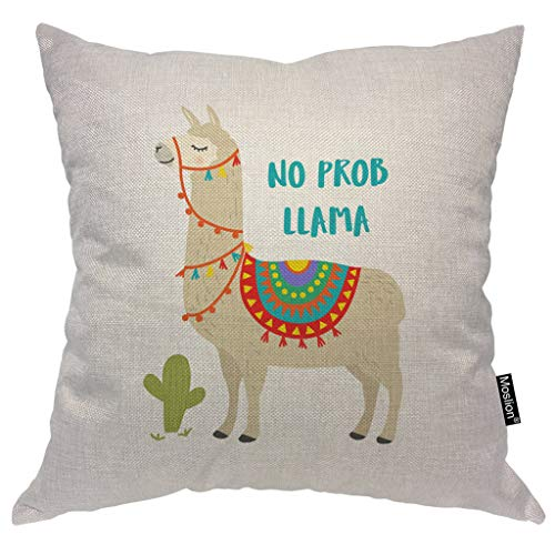 Moslion Llama Pillows Cute Animal Alpaca with Cactus Motivational Quote No Prob Llama Throw Pillow Cover Decorative Pillow Case Square Cushion Accent Cotton Linen Home 18x18 Inch (Chair Lama)