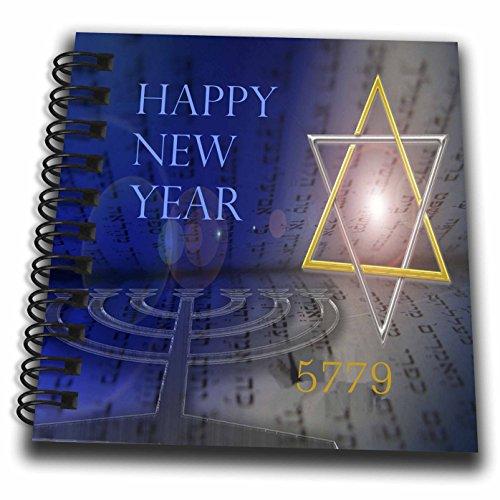 3dRose Jewish Themes - Image of Bright Mogen David with Menorah and Happy New Year - Mini Notepad 4 x 4 inch ()