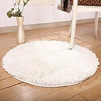 Round Shaggy Area Rugs Carpet Decoration Non-slip Microfiber 100% Cotton Chenille Floor Mat Bedroom Area Rug Shaggy Carpet Suitable For Study/Bedroom/Kitchen, Diameter 31.5/80cm(Off White)