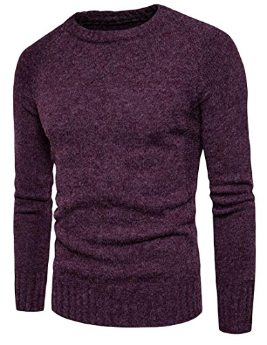 Blouse Knit Neck M Red Round Winter amp;S Sweater amp;W Wine Pullover Men's cU6U0YF