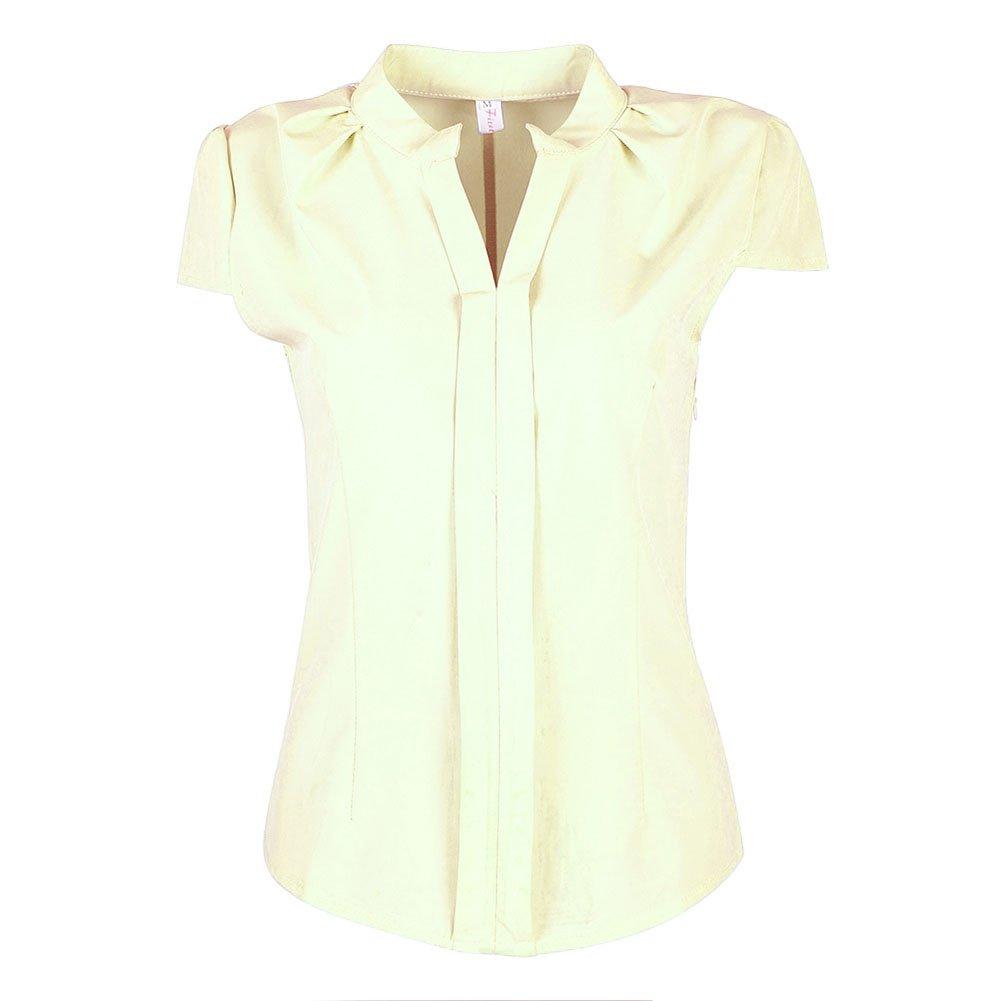 4f9cb523cacdb EFINNY Women Office T-Shirt Uniform OL V Neck Henley Blouse Workwear Tops  at Amazon Women s Clothing store