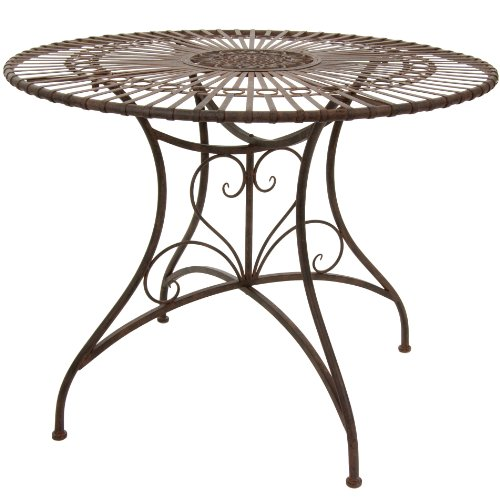 Oriental Furniture Rustic Circular Garden Table – Rust Patina