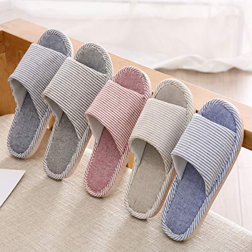 Pantoufles Plate Lin Femmes Masculine Shoe Printemps Maison En Intérieure Et Qsy Couple forme Lettre Rayé Hommes Été xwIzOqH0