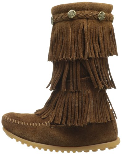 Brown Marrone Bambini Stivali layer dusty – Mocassini Fringe Unisex 3 Minnetonka qF6avv