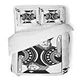 SanChic Duvet Cover Set Poker King Spades Playing Black White Casino Gamble Decorative Bedding Set Pillow Sham Twin Size