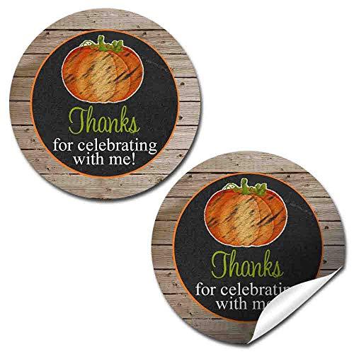 Chalkboard Pumpkin Birthday Party Thank You Sticker Labels, 40 2