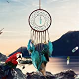 Dream Catcher ~ Handmade Traditional Feather Wall Hanging Home Decoration Decor Ornament Craft (Green and Brown) 5.1″ Diameter 19.6″ Long
