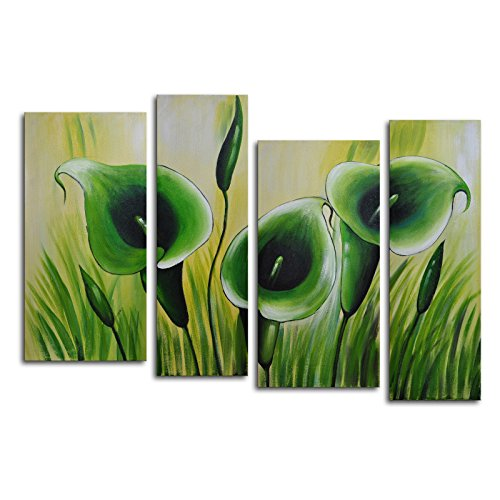 TJie Art Hand Painted Mordern Oil Paintings Green Memory Roots 4, For indoor use 4-piece wall art in modern and contemporary style, Hand-painted on canvas with high-quality oil, Botanical theme green and yellow, Dimensions: 56W x 36H in