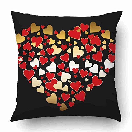 Dimple Pattern - Newhomestyle Decorative Throw Pillow Cover Case for Bedroom Couch Sofa Home Decor Red Seamless Wallpaper Pattern Square Gold 18x18 inches