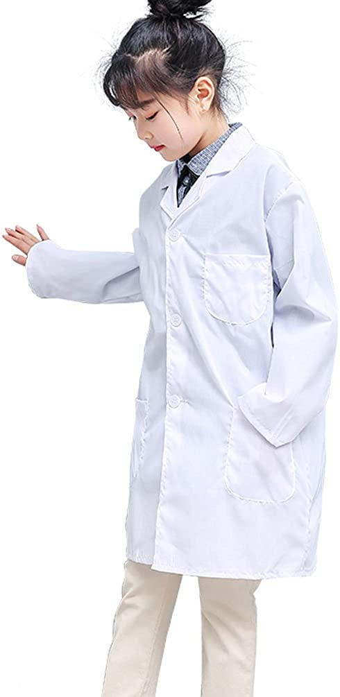 Kids Lab Coat Costume Set Soft Fabric Scrub Set Role Play Dress Up for Unisex Children Scientists Doctor Christmas Halloween