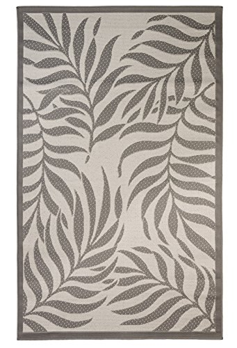 Outdoor Mats Flatweave Indoor Outdoor Rugs with Contemporary Tropical Design Area Rugs Patio Rug Flooring Carpets 9x12 (8'10''x11'9'', Gray) (Outdoor Rug Tropical)