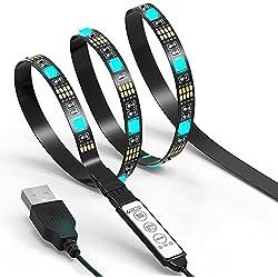 TV LED Light Strip JACKYLED 6.6Ft 60Leds LED TV Backlight Strip USB Bias Monitor Lighting RGB 5050 SMD Changing Color Strip Kit Accent light Set For TV Desktop PC (Mini Controller)