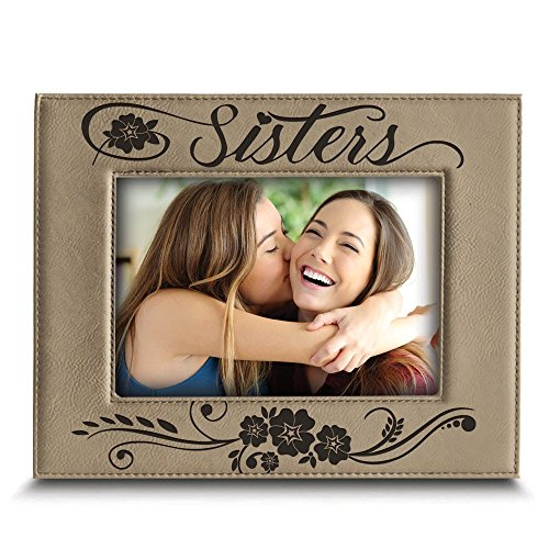 Bella Picture Frame - BELLA BUSTA Sisters picture frame- Gift for sister- Gift for parents- Engraved Leather Picture Frame (4