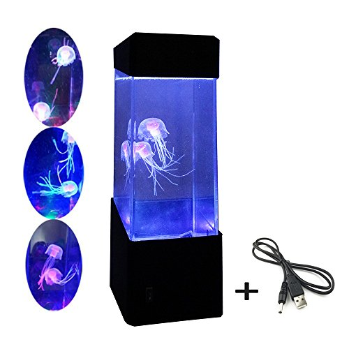 Epiten Jellyfish Lamp Electric Jellyfish Tank Aquarium Color Changing Mood Lamp For Home Decoration Magic Lamp Night Lights For Gift