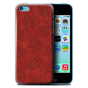 STUFF4 Phone Case / Cover for Apple iPhone 5C / Red Design / Textile Effect Leaf Pattern Collection
