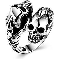Stainless Steel Skull Rings for Men Boys Jewelry Chic Punk Skull Head