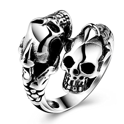 CHENGCAI Costume Jewelry Gothic Ring Skull Skeleton Ring Titanium Steel Punk Biker Style Adjustable Halloween Band for Men (8)