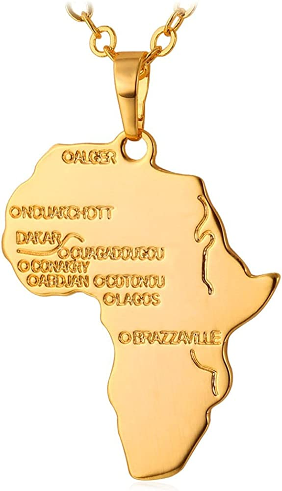 """U7 Hip Hop Jewelry 22"""" Long Chain Platinum/Rose Gold/Black Gun/18K Gold Plated African Map Pendant Necklace, Free Engraving Back Side"""