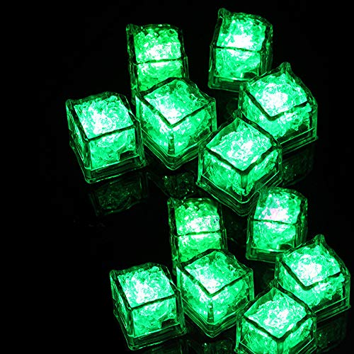 Lighted Dolls Clearance , 12 pcs Party Decorative LED Ice Cubes Light MultiColor Liquid Sensor Bar Party by Little Story (Green) ()