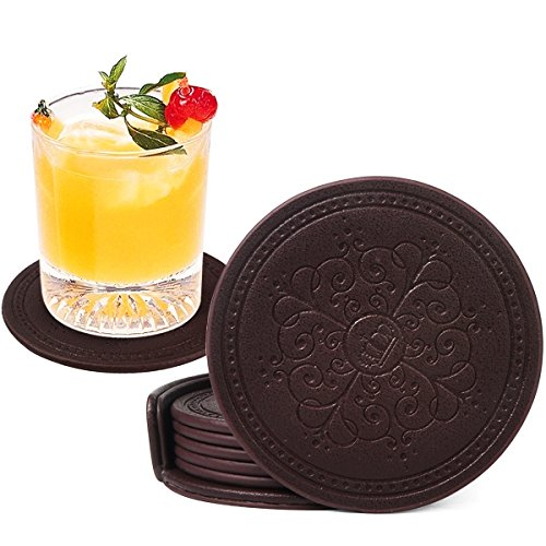 Large Product Image of Coasters Set,Classic Pattern Faux Leather Coaster Set of 6 with Holder Protect Furniture by Happydavid (brown round)