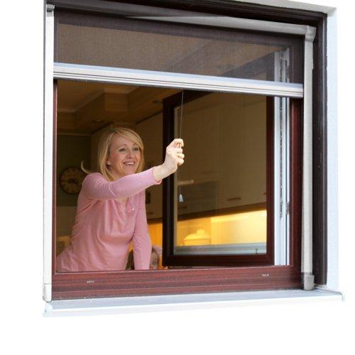 JAROLIFT Insektenschutzrollo (Aluminium) Eco für Fenster 110 x 160 cm - weiss
