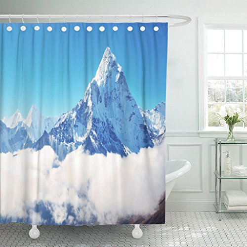 Breezat Shower Curtain Blue Himalaya Mountain Peak Everest Highest in the World National Park Nepal Snow Waterproof Polyester Fabric 72 x 78 Inches Set with Hooks